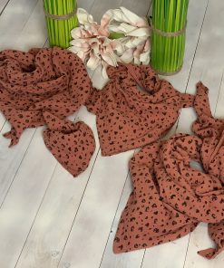 Musselin Schal Rost Rot Leopardenmuster