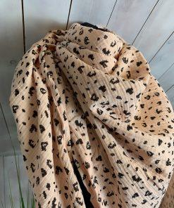 Musselinschal Beige Leopard