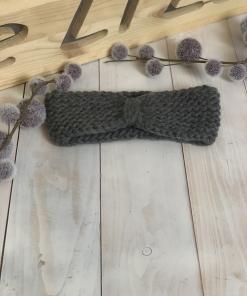 Strick Stirnband grau